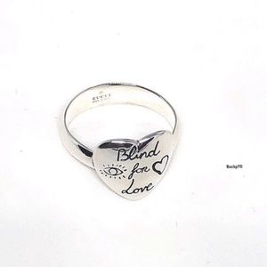New Gucci Blind For Love Heart Ring Size 8